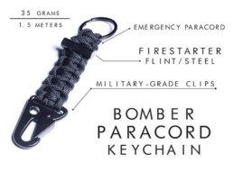 Bomber Company Paracord Carabiner Bomber Keychain Black Fussy Singapore Specs #fussysg